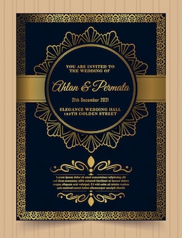 Luxury vintage golden invitation card template.
