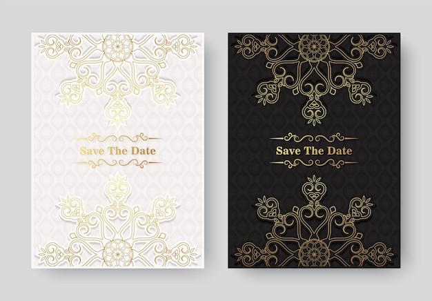 Роскошный винтажный золотой векторный шаблон приглашения