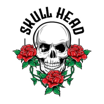 Luxury and vintage illustration of skull with red roses and leaf