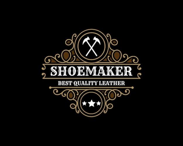 Luxury vintage leather shoe maker shoe repair shop store labels or logo for man woman shoes brand