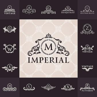 Luxury vintage logos set calligraphic emblems and elements