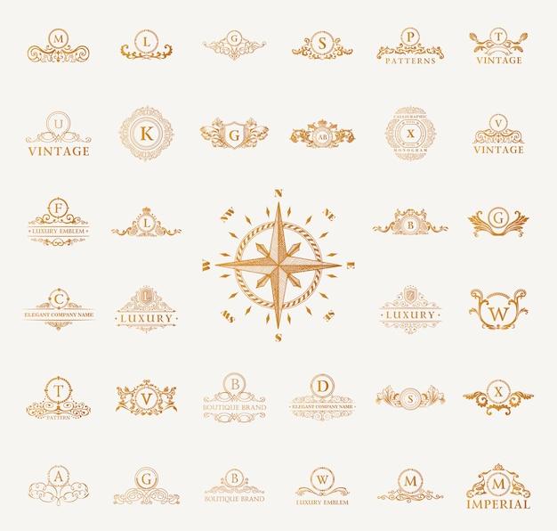 Luxury vintage logos set