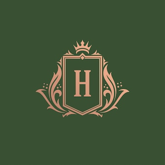 Luxury vintage ornament logo monogram crest template design vector illustration.