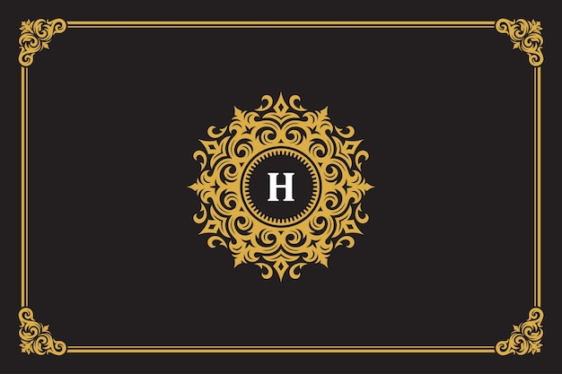 Luxury vintage ornament logo monogram crest template design vector illustration