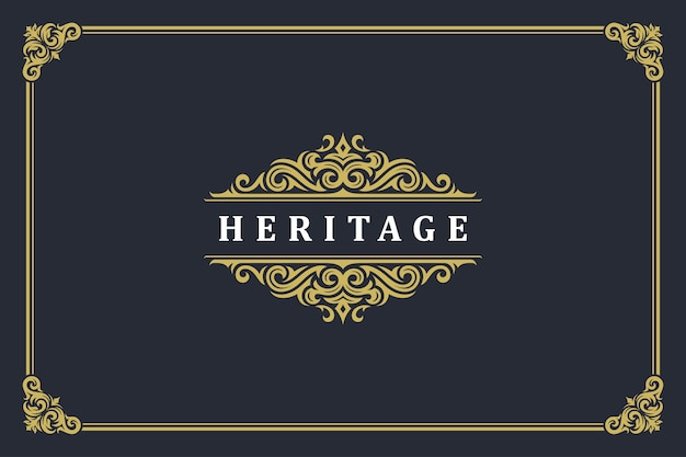Luxury vintage ornament logo monogram crest template