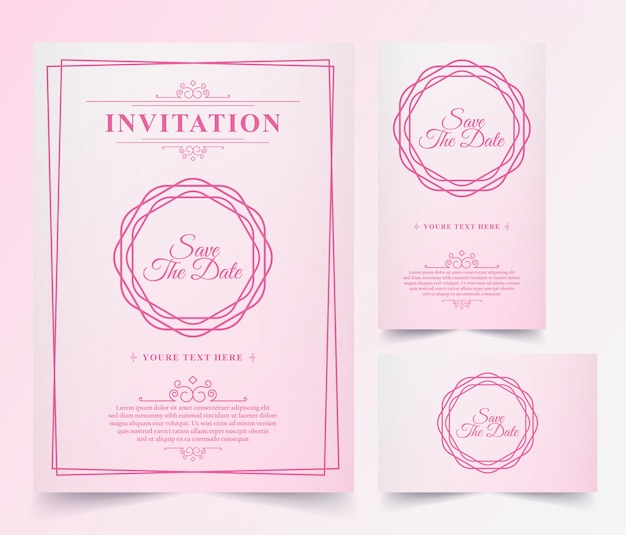 Luxury vintage pink invitation card
