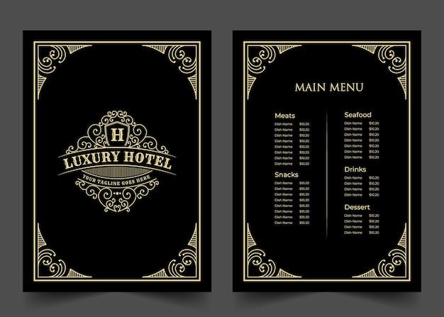 호텔 카페 바 커피숍 로고가 있는 고급 빈티지 레스토랑 음식 메뉴 카드 템플릿 코브