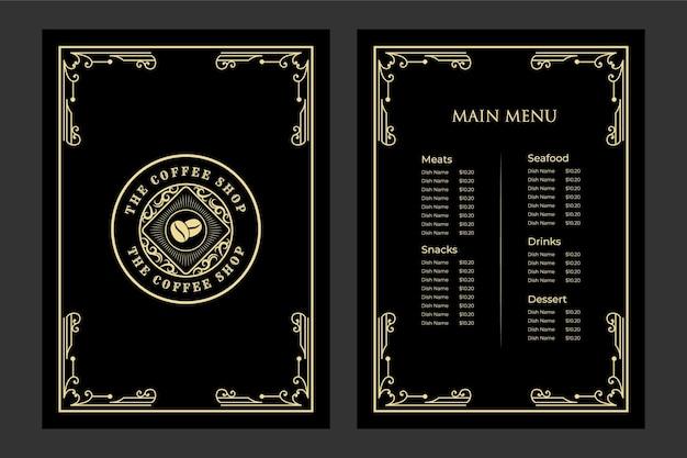 Роскошный винтажный шаблон меню еды ресторана бухта с логотипом для кафе-бара при отеле