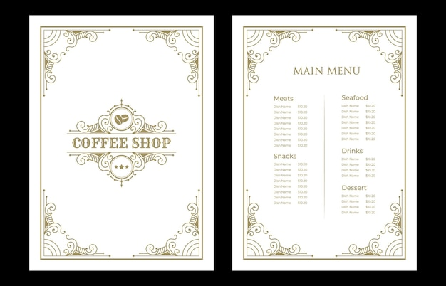 Luxury vintage restaurant food menu card template cove with logo for hotel cafe bar coffee shop