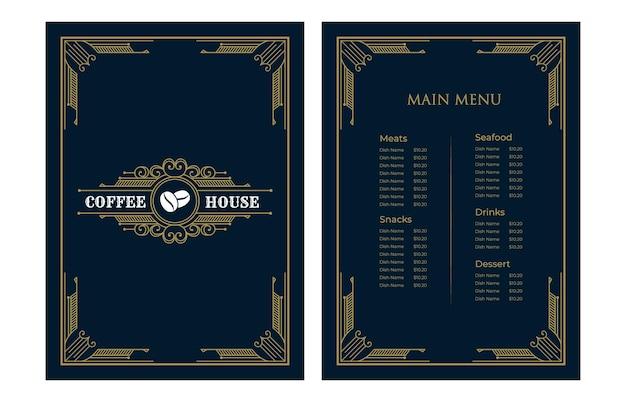 Роскошная винтажная обложка шаблона меню еды ресторана с логотипом для кафе-бара при отеле
