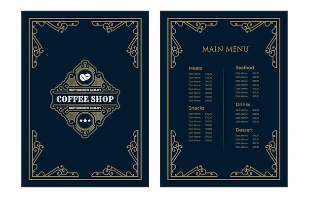 Luxury vintage restaurant food menu card template cover with logo for hotel cafe bar coffee shop