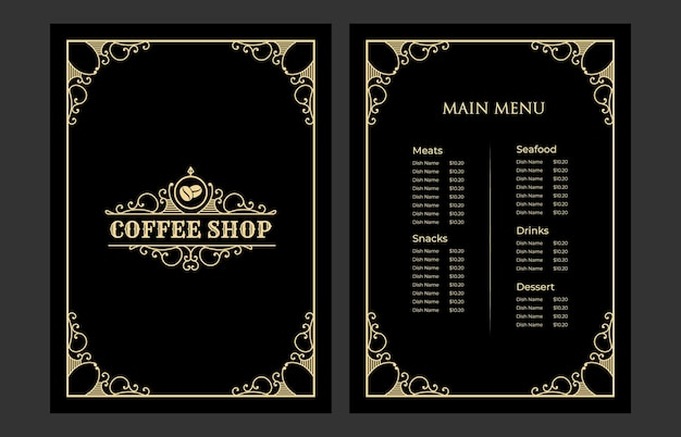 Luxury vintage restaurant food menu card template cover  with logo for hotel cafe bar coffeeshop