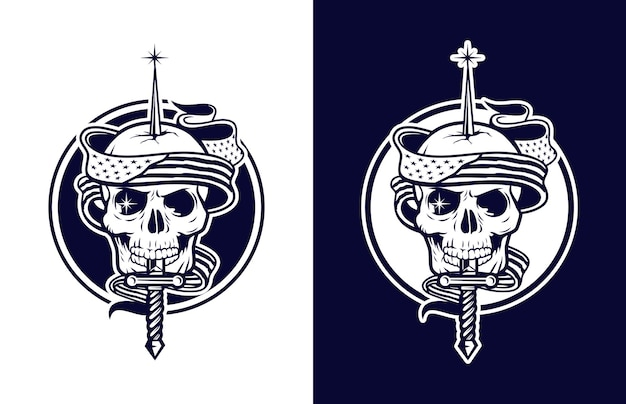 Luxury and vintage skull with american flag and guns  logo