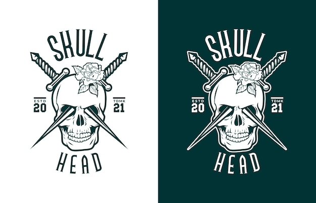Luxury and vintage skull with american flag guns and red roses  logo