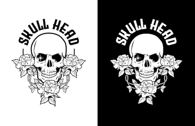 Luxury and vintage skull with red roses  logo