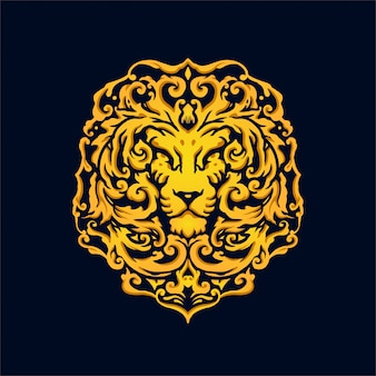 Luxury vintage style head of lion logo design