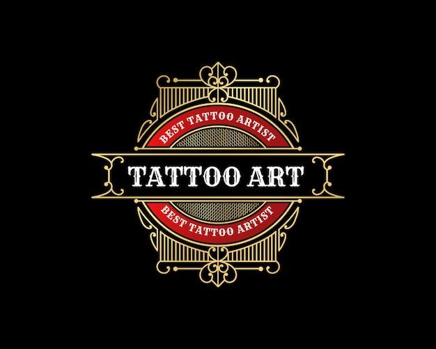 장식용 번창 프레임이 있는 고급 빈티지 문신 스튜디오 엠블럼 배지 로고 디자인