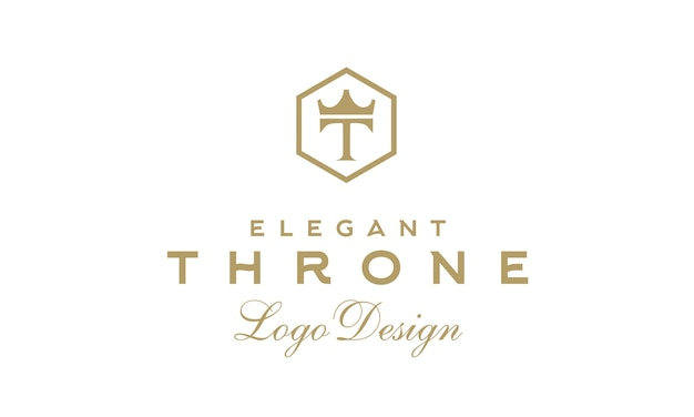 Luxury vintage throne logo design with initial t and crown