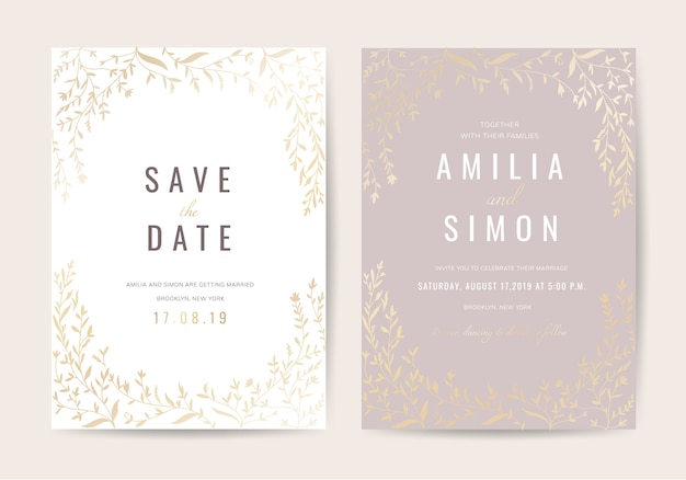 Luxury vintage wedding invitation card with floral decoration