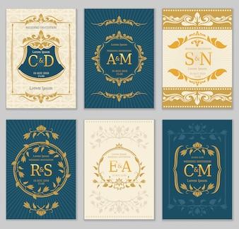 Роскошные старинные свадебные приглашения векторных карт с логотипом монограмм и декоративной рамкой