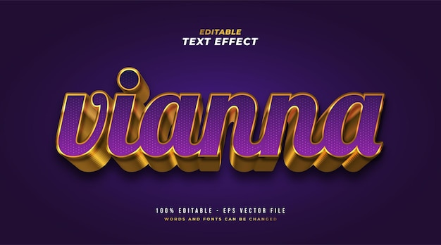 Luxury violet and gold text style with 3d embossed effect. editable text style effect