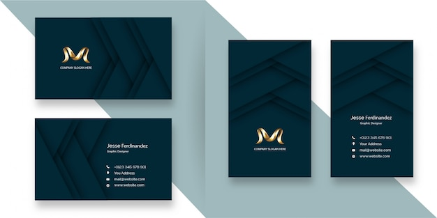 Luxury vip layered  style deep green business card template