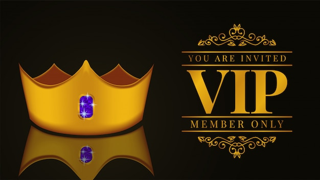 Luxury vip member card invitation with golden crown