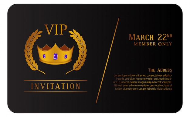Luxury vip member card with golden crown invitation