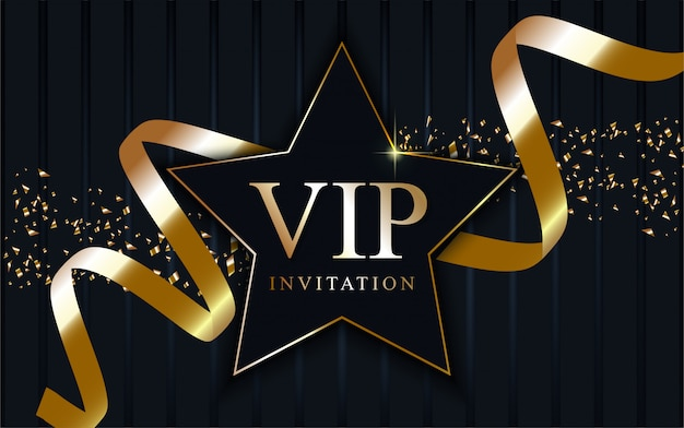 Luxury vip star on gold tape.