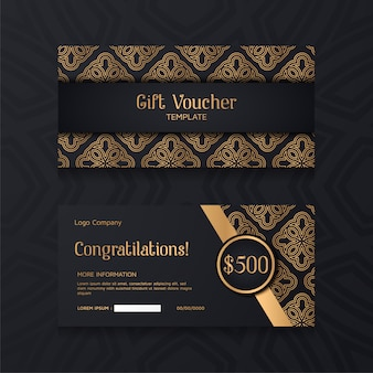 Luxury voucher template with gold and black background.