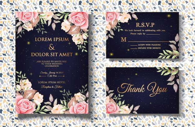 Роскошный акварельный цветочный свадебный пригласительный билет