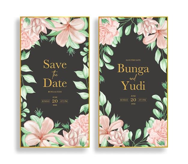 Luxury watercolor floral wedding invitation set template