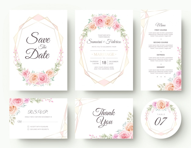 Luxury watercolor flower wedding invitation card stationery set