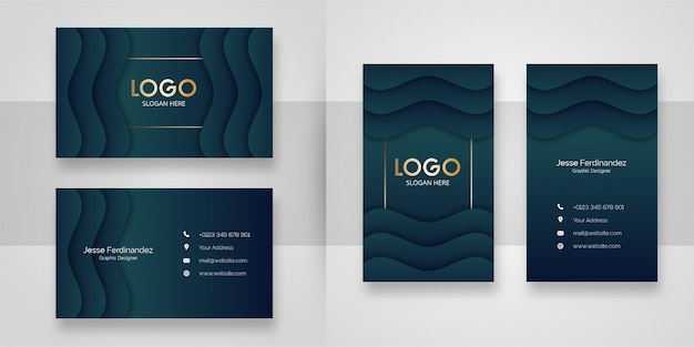 Luxury wave shape business card template