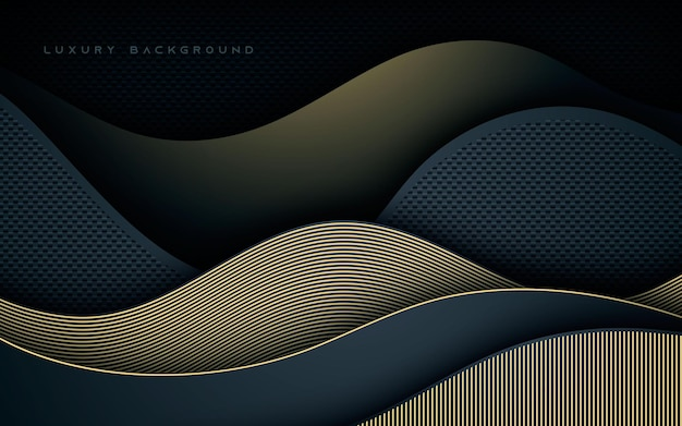 Luxury wavy dimension layers with gold line decoration background