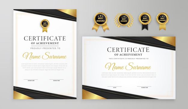 Luxury wavy lines black and gold certificate with badge and border vector a4 template