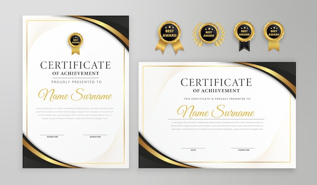 Luxury wavy lines black and gold certificate with badges and border vector a4 template
