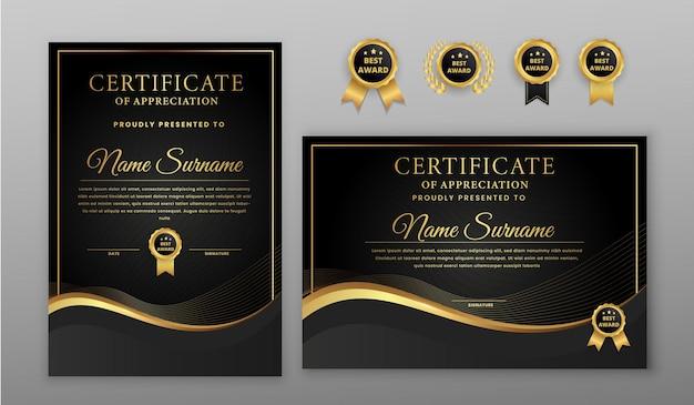 Роскошный золотой и черный сертификат с волнистыми линиями с золотым значком и шаблоном границы