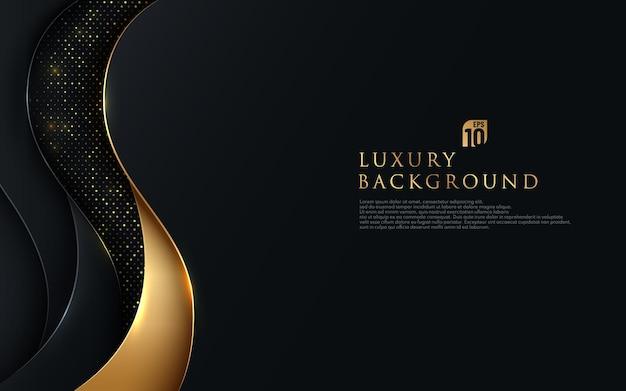 반짝이와 황금 라인 빛나는 점 황금 조합으로 검은 배경에 겹치는 럭셔리 물결 모양.