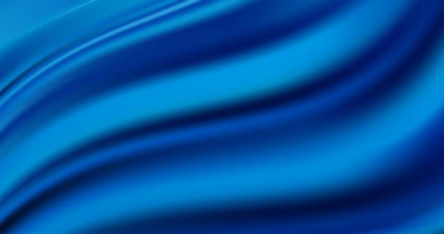 럭셔리 물결 모양의 로얄 블루 새틴 배경. 실크 패브릭 질감