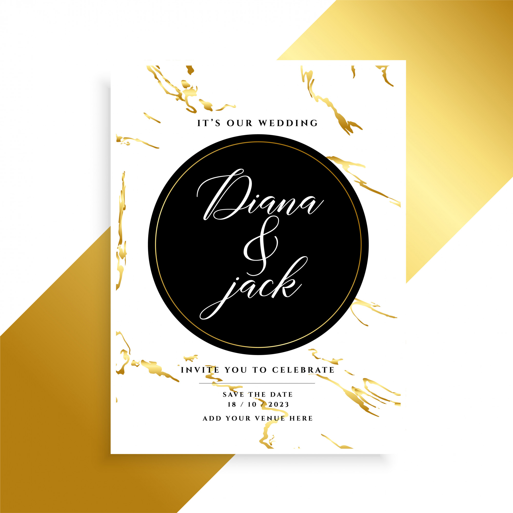 Luxury wedding card design with marble texture