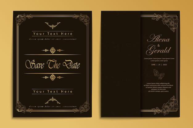 Luxury wedding card invitation card line art vintage style
