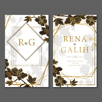 Luxury wedding card leaves gold style