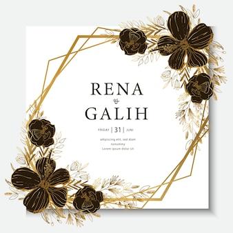 Luxury wedding card line art floral gold line