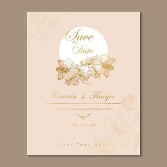 Luxury wedding card line art vintage style