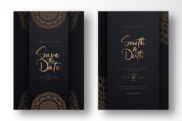개요 스타일의 럭셔리 만다라와 럭셔리 웨딩 카드 템플릿 디자인