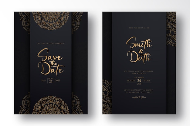 Luxury wedding card template design with luxury mandala in outline style