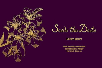 Luxury wedding card with lily sketch flowers, leaves. Save the Date card template.