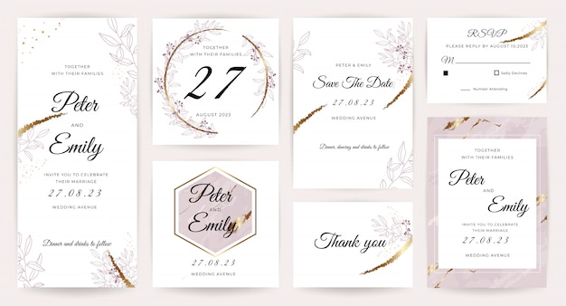 Luxury wedding invitation card  collection.