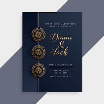 Luxury wedding invitation card design in dark and gold color
